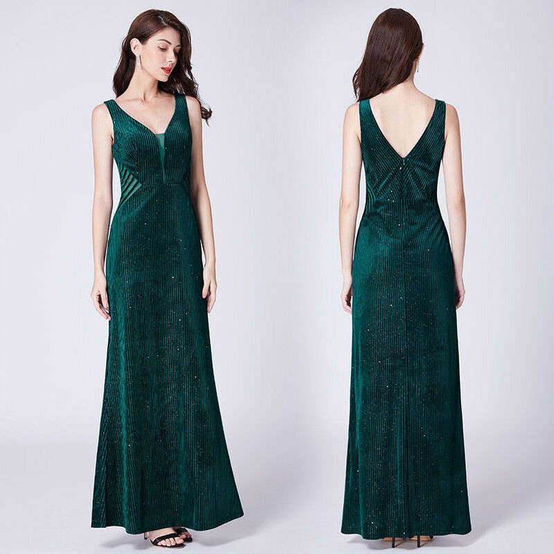 c7a6ee604c9 Details about UK Ever-Pretty Dark Green V-neck Formal Ball Gown Long Evening  Party Dress 07349