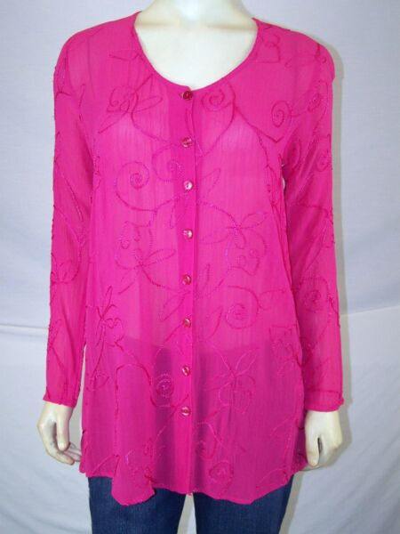 Golden Time Pink Embroidered Button Front Sheer Top Womens Size Medium 8 10