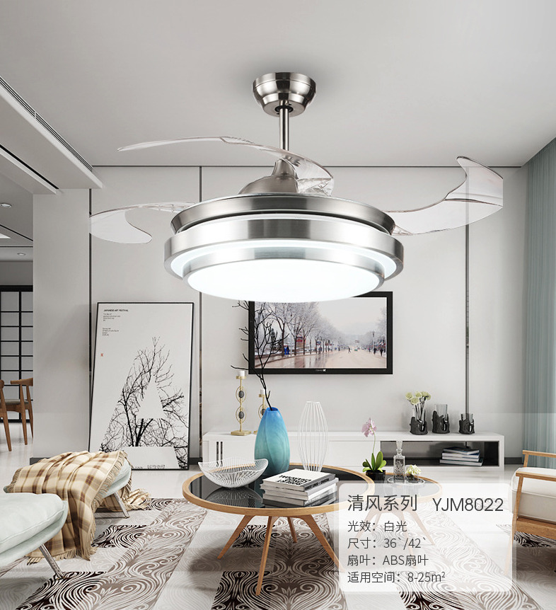 Details About Modern LED Invisible Ceiling Fan Light Dining Room Remote Control Chandelier