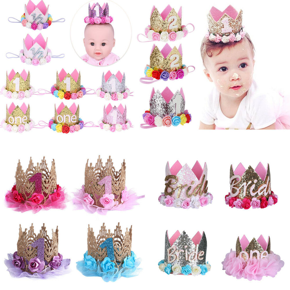 f70dcefb320 Details about Princess Baby Girls 1st 2nd Birthday Party Flower Crown  Headband Tiara Hairband