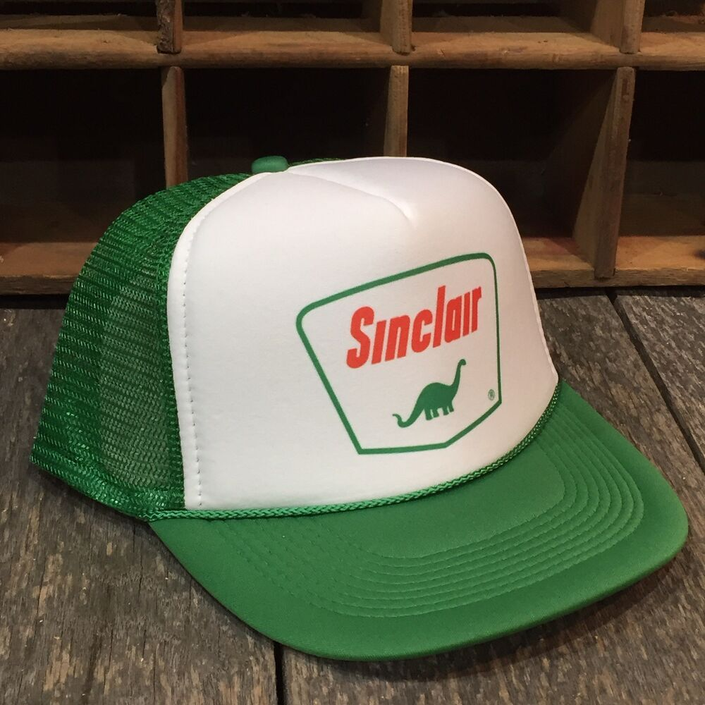 5cfe65317d5fd Details about Sinclair Gas Station Vintage 80s Style Trucker Hat Snapback  Mesh Green Cap