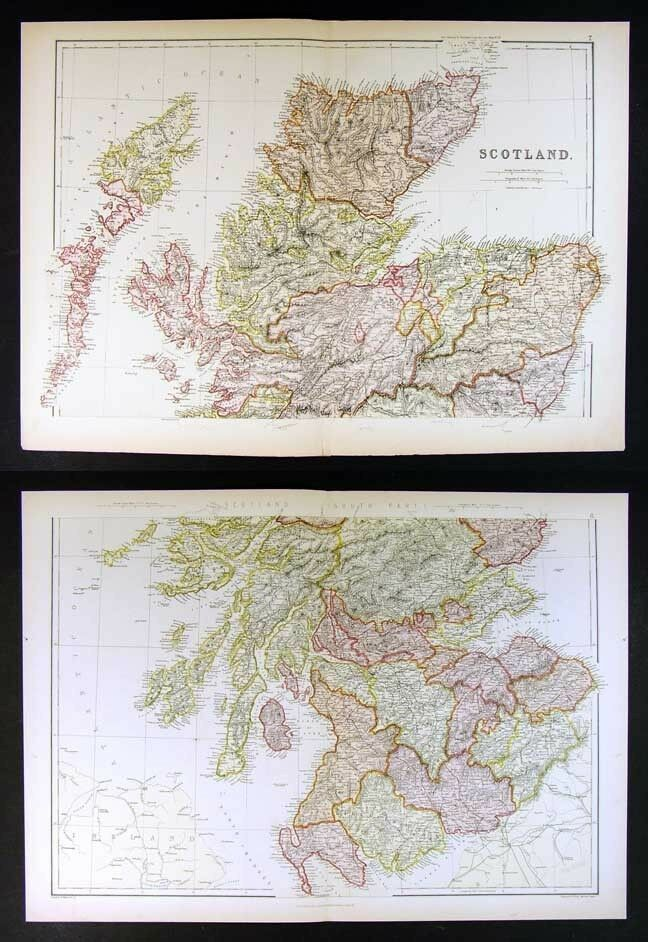 1882 Blackie Atlas Map X 2 Scotland North South Edinborough