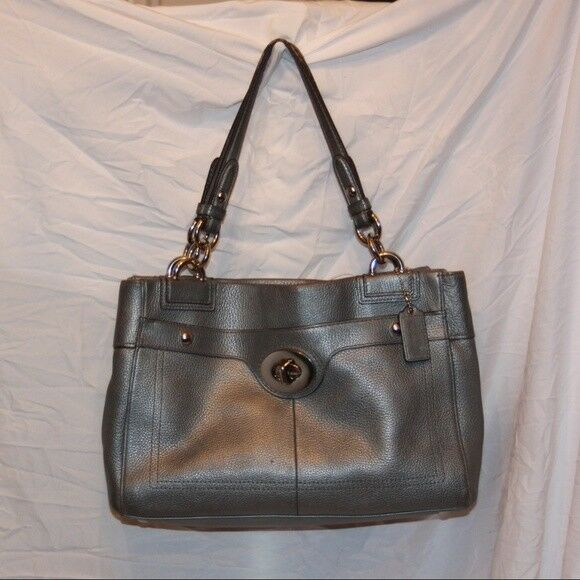 a72d7e1bde Details about COACH PENELOPE CARRYALL F16531 SILVER PEBBLED LEATHER  TURNLOCK TOTE PURSE