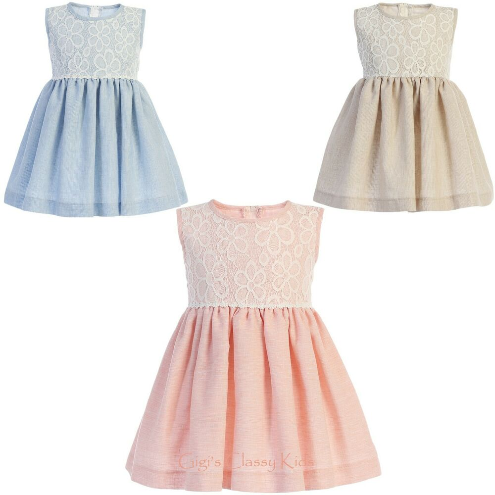 039363635272 Details about Flower Girl Dress Cotton Linen Lace Easter Wedding Party Baby  Toddler Kids New