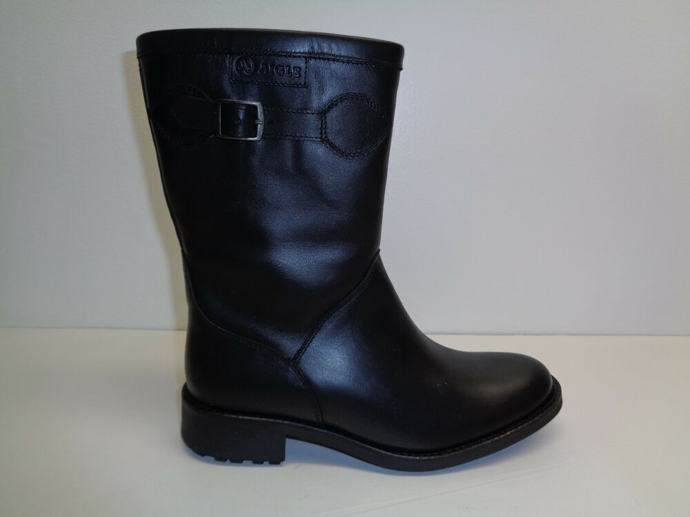 Aigle Size 6.5 CHANTEBOOT GTX2 Black Leather Mid Calf Boots