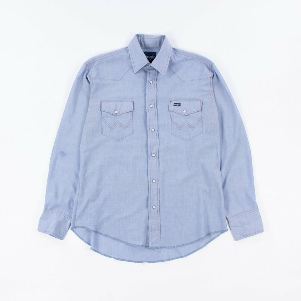 5a61dbc141f Details about Vintage Wrangler Chambray Western Work Shirt