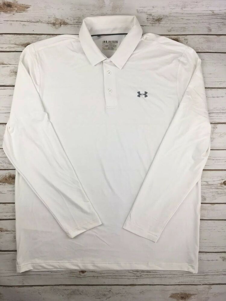 d9439dc1efb35c Details about Mens Under Armour Polo Playoff Long Sleeve Golf Shirt Stretch  Tech UA White XL