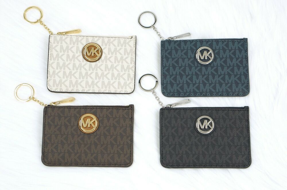 dac282ac3c58e Details about Michael Kors FULTON jet set Coin Pouch Wallet Card ID Case  with Key Chain Holder