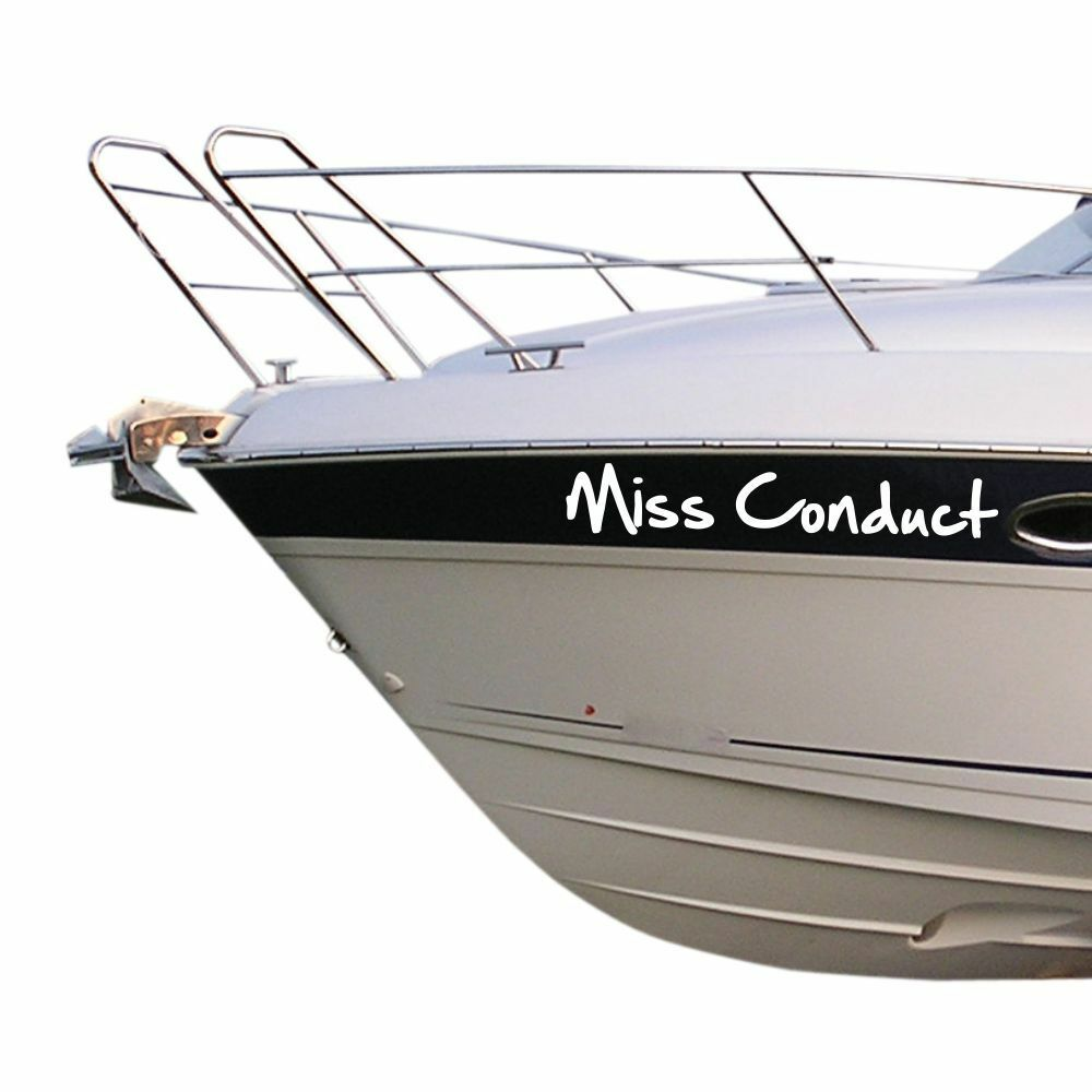 Details about boat name x 2 vinyl stickers names custom decals waterproof graphics