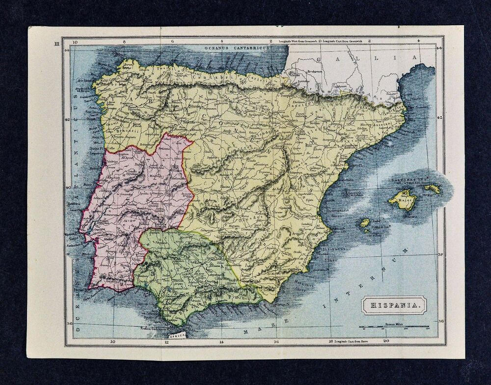 1908 Classical Map Hispania Ancient Spain Portugal Lusitania