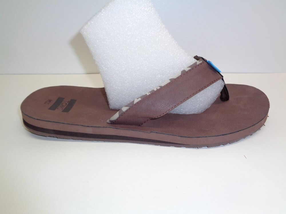 bef684789 Details about Toms Size 11 CARILO Brown Leather Flip Flops Thongs Sandals  New Mens Shoes