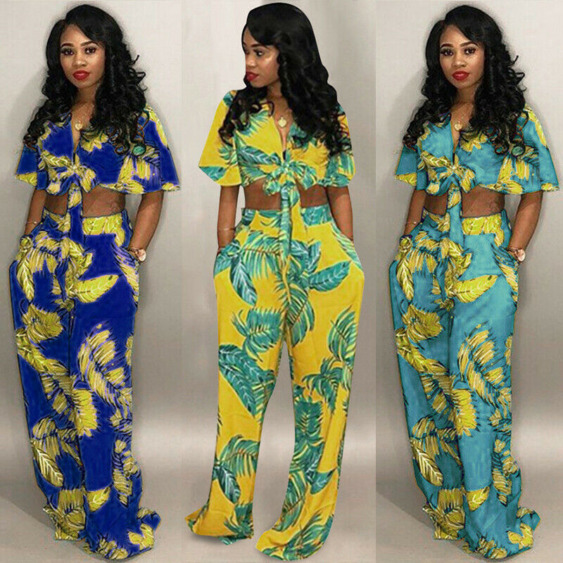 women v neck crop top wide leg pants set two piece outfit