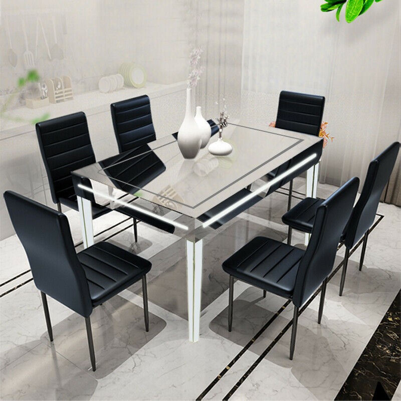 Details About New With Blue Led Mirrored Gl Table Gloss Dining Kitchen Furniture Uk
