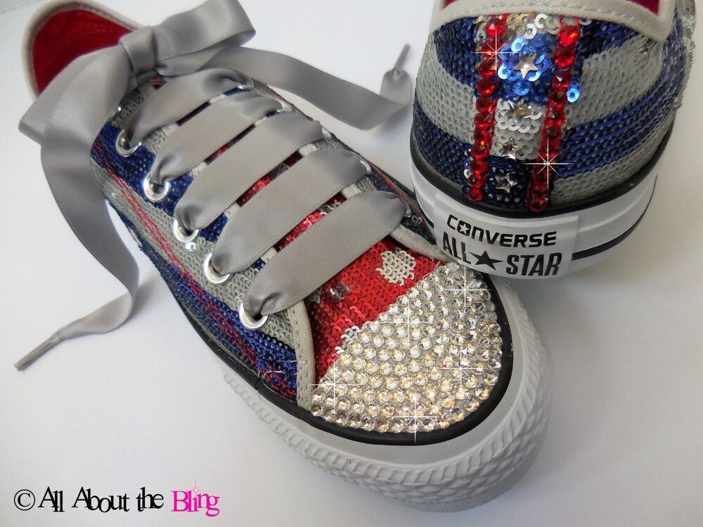 ece66dfaab1c41 Details about CONVERSE All Star with SWAROVSKI crystals Patriotic sequin