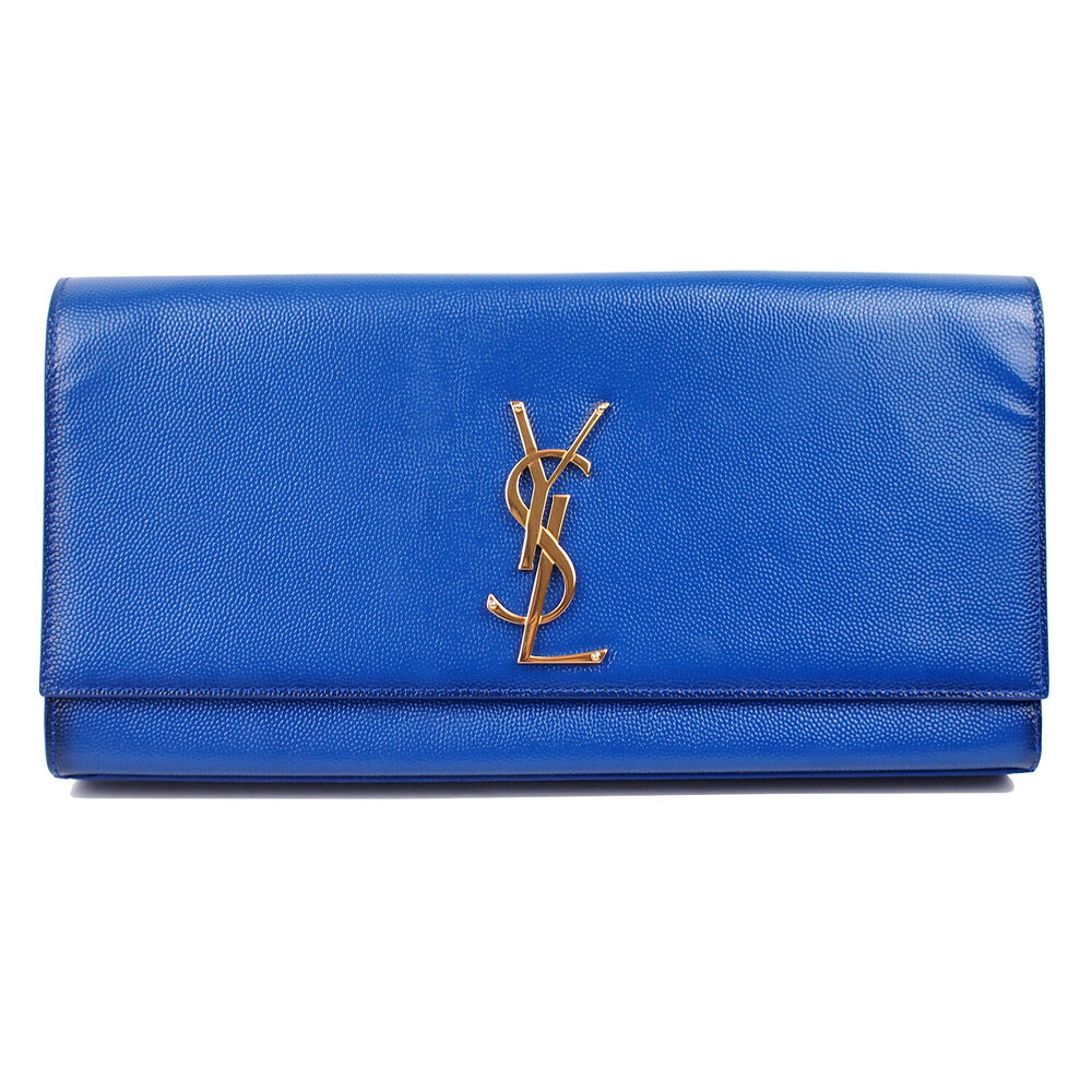 27235f4ee888 Details about 100% Authentic Yves Saint Laurent YSL Blue Patent Leather Cassandre  Clutch Bag