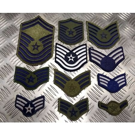img-Genuine USA Air Force USAF Issued Rank Badge Patches Various Styles Top Gun