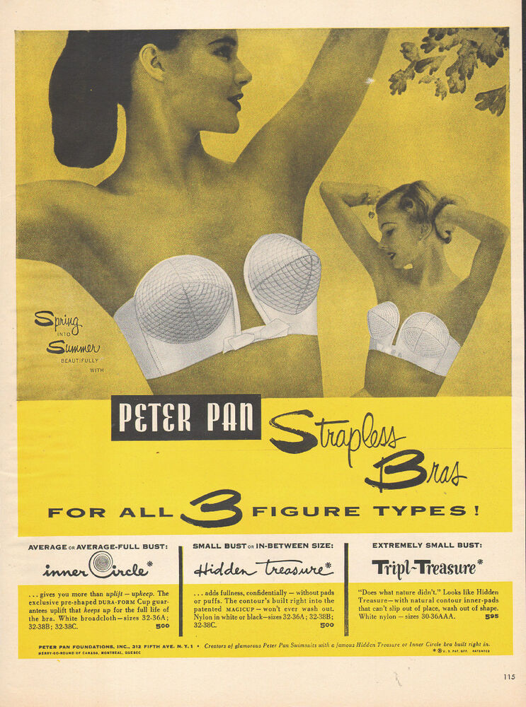 f04bf3f8d7b Details about 1952 vintage lingerie AD PETER PAN Strapless Bras small to  average busts 060715