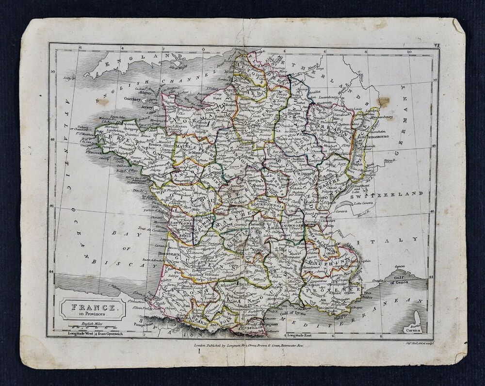 Provinces Of France Map In English.C 1840 Sydney Hall Map France In Provinces Paris French Riviera