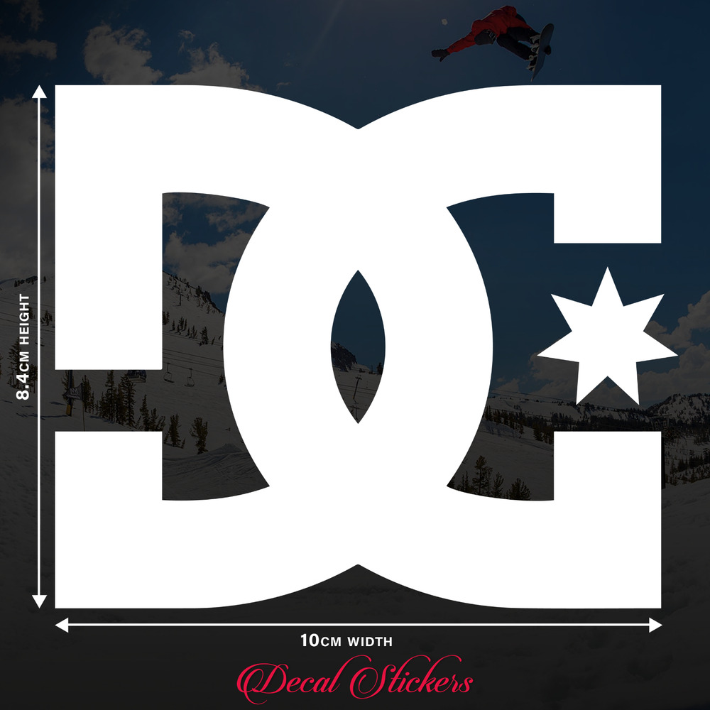 Details about 2 x dc shoes skateboard snowboard decal stickers in white gloss