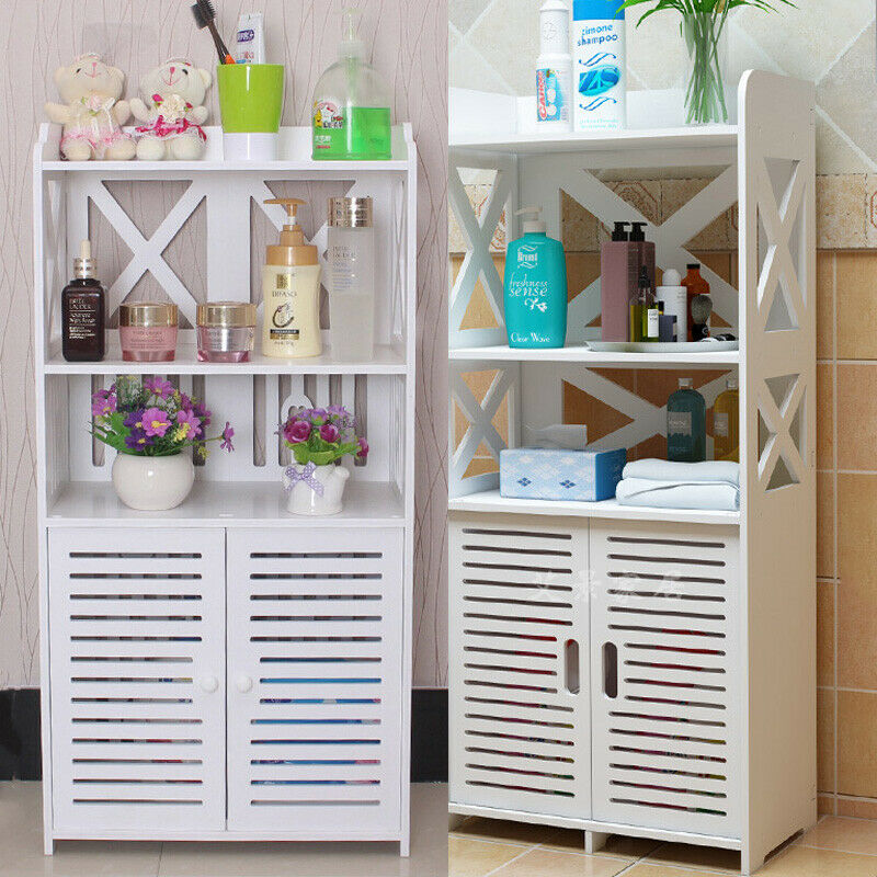 Details About Wooden Bathroom Cabinet Shelf Cupboard Toilet Kids Bedroom Storage Unit Standing