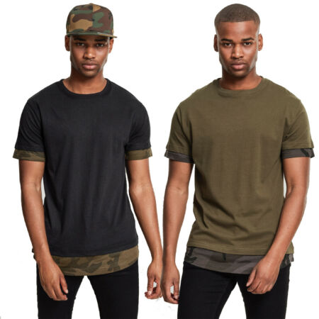 img-Urban Classics Camo Inset T-Shirt Army Camouflage Bundeswehr Doppel Double Layer