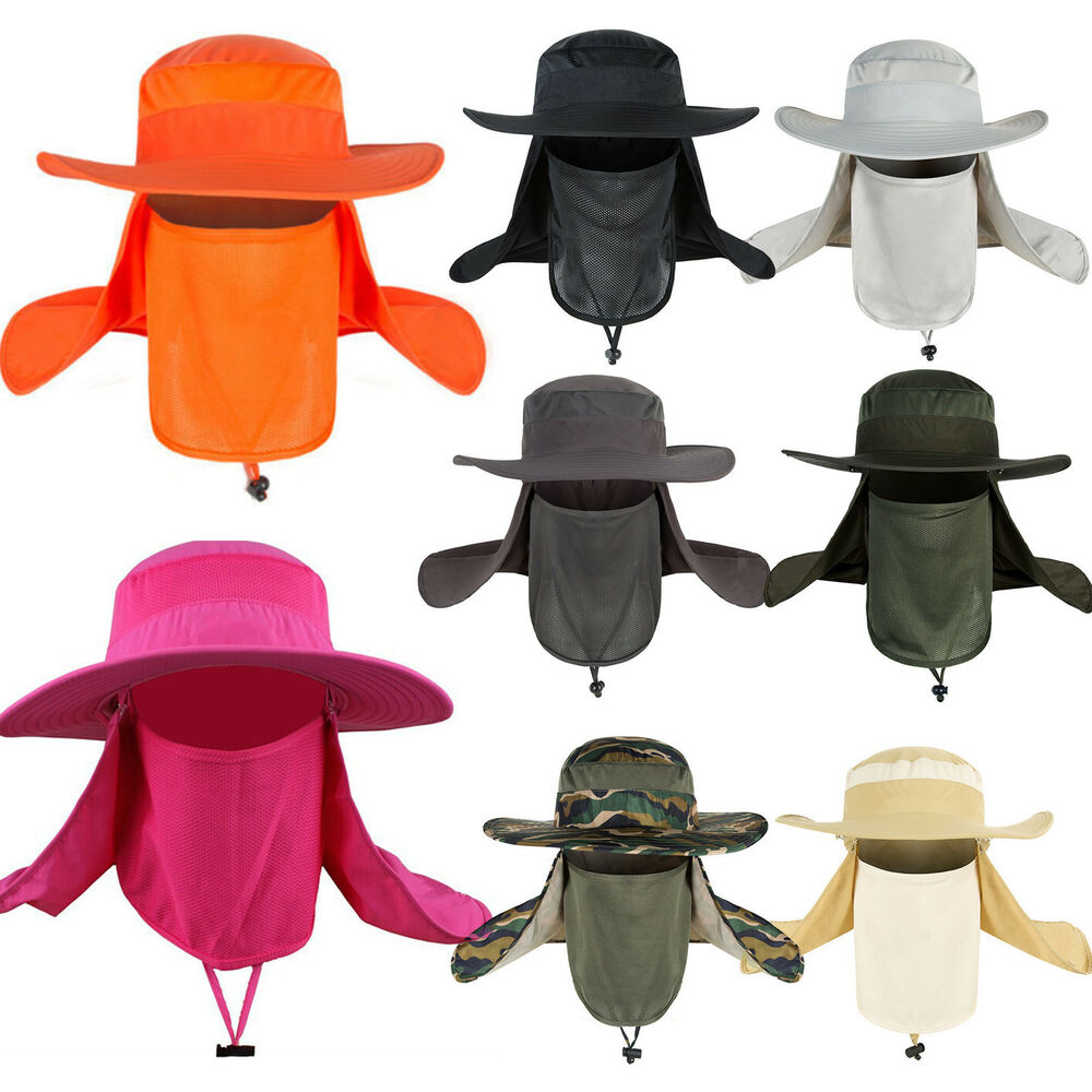 c6335696132 Details about Men Women Outdoor Hiking Fishing Hat 360° UV Protection Face  Neck Cover Sun Cap