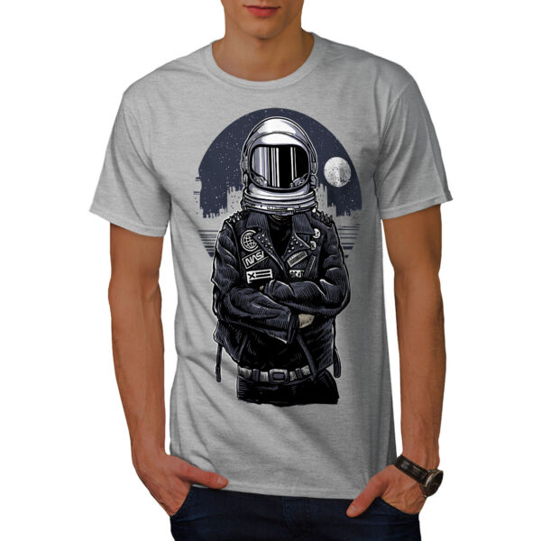 Wellcoda Space Biker Night Fashion Mens T-shirt,  Graphic Design Printed Tee