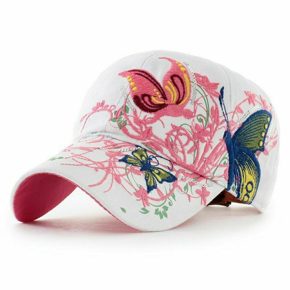 release date: 21d22 01470 Details about AKIZON Baseball Cap For Women With Butterflies And Flowers  Embroidery Adjustable