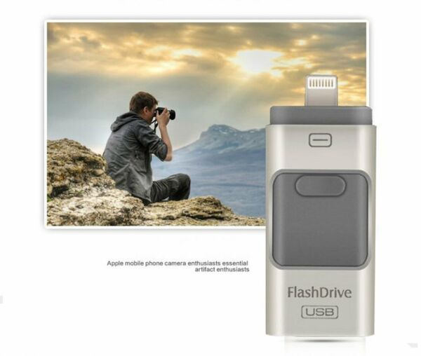 FLASH DRIVE CHIAVETTA 3IN1 USB 3.0 per iPhone X-8-7-6-6S-5-5S-IPAD PENDRIVE 32GB