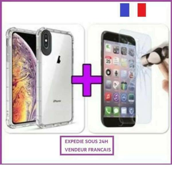COQUE SILICONE RENFORCE IPHONE 6 7 8 X / S MAX PLUS + PROTECTION VERRE TREMPE 9H