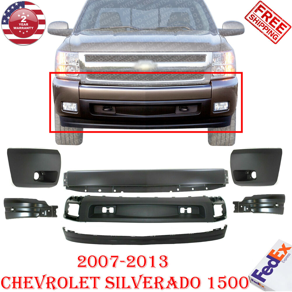 Front Bumper + Cover + Cap + Valance Kit For 2007-2013