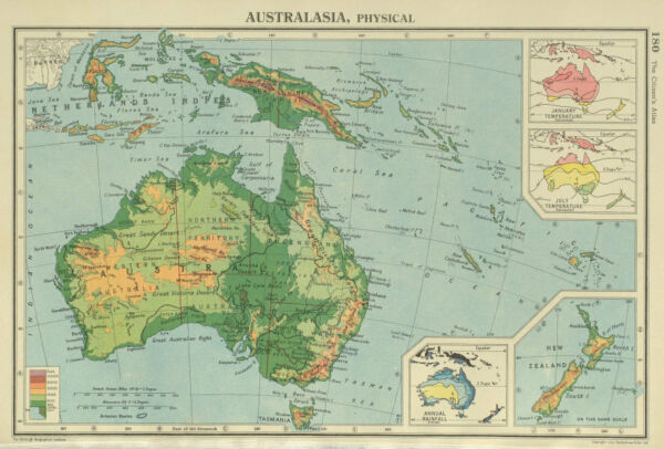 AUSTRALASIA. January & July temperature; Annual rainfall. BARTHOLOMEW 1947 map