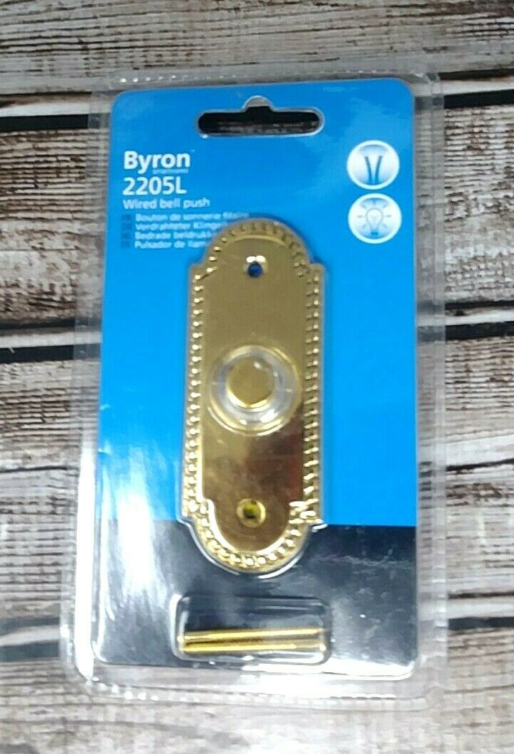 Byron Wired Bell Push Lighted Surface Mounted Silver// Brass