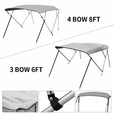 Bimini Top Boat Roof Cover 3 Bow / 4 Bow Gray Canopy Cover 6ft / 8ft Long 600D