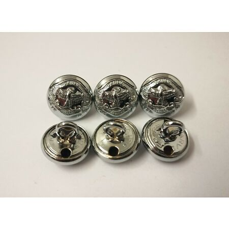 img-Genuine Zambian Police & Security Force Insignia X6 Silver Buttons 13mm V742
