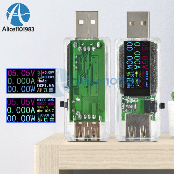 14 in 1 0.96inch IPS Color LCD USB Voltage Current Capacity Tester For QC2.0 3.0