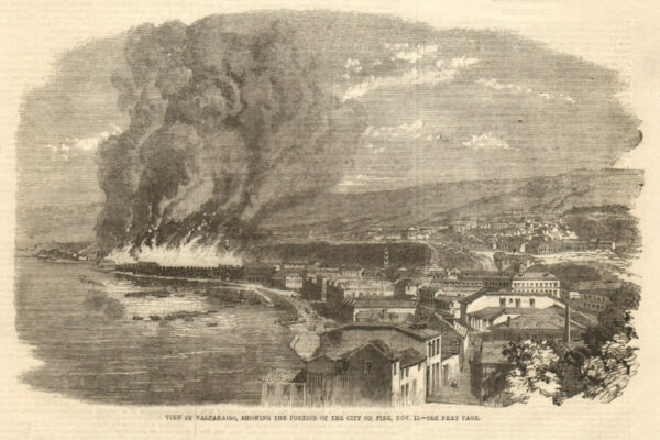 View of Valparaiso, showing the portion of the city on fire, Nov. 13. Chile 1859