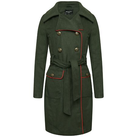 img-Ambergloss Ladies Double Breast Russian Style Army Coat Women Coat Jacket
