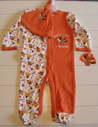 Girls Boys Baby Gear 2 Pc Baby's 1st Thanksgiving Footed Sleeper Hat Outfit 0-3M