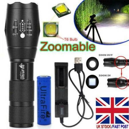 img-Ultrafire Focus Tactical Torch T6 LED 50000LM Flashlight &18650 Battery &Charger