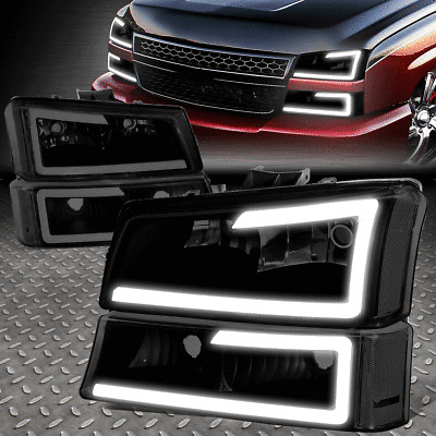 [DUAL LED DRL]FOR 03-07 SILVERADO AVALANCHE TINTED/CLEAR HEADLIGHT + BUMPER LAMP