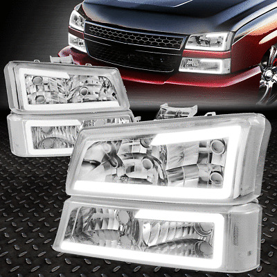 [DUAL LED DRL]FOR 03-07 SILVERADO AVALANCHE CHROME/CLEAR HEADLIGHT + BUMPER LAMP