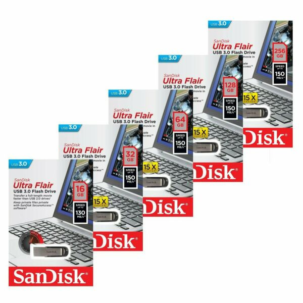 SanDisk 16/32/64/128/256GB Ultra Flair CZ73 USB 3.0 Flash Drive Stick