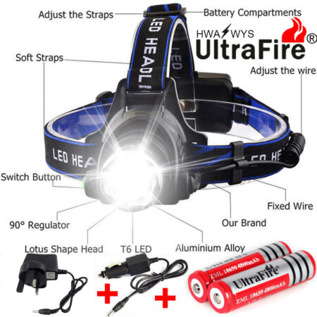 img-Headlamp Rechargeable Tactical 6000LM T6 LED 18650 Headlight Head Torch Light