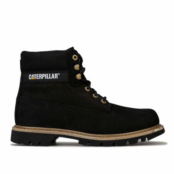 Mens Caterpillar Colorado Corduroy Boots In Black- Lace Fastening- Water And