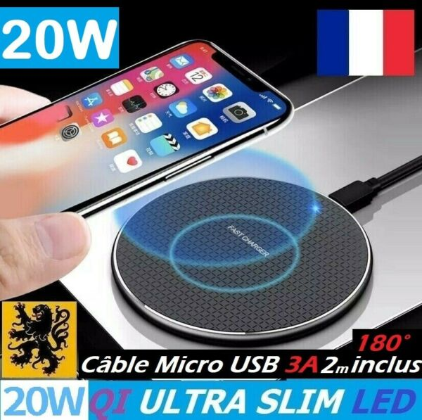 Chargeur sans fil Qi Induction LED 10W Rapide Iphone 11 Samsung S10 Huawei Xaomi