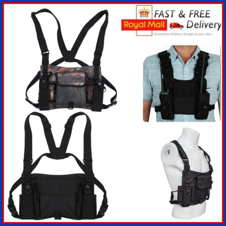 img-Adjustable Tactical Vest Chest Rig Radio Chest Harness Holster Pouch Bag Pockets