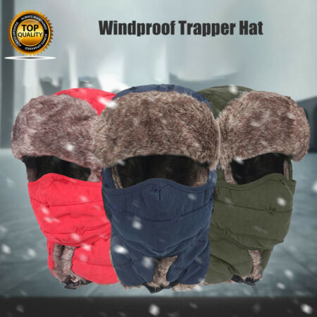 img-Trapper Aviator Trooper Earflap Hat Windproof Winter Ski Face Mask Cap Warm