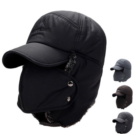 img-Mens Ear Flap Peaked Hat With Mask Hood Cap Winter Warm Snow Ski Trapper Cap