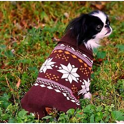 NEW Outdoor Dog Pink Brown Snowflake Turtleneck Dog Sweater Clothing (Pick Size)
